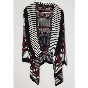 Tillys shawl cardigan geometric striped sweater